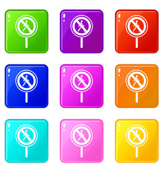 No pedestrian sign set 9 vector