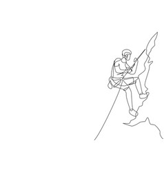 One continuous line drawing young bravery vector