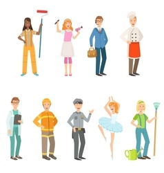 People With Different Professions In Classic vector
