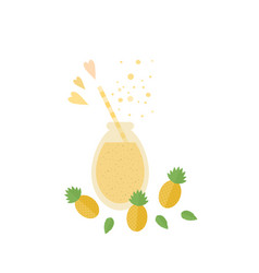 Pineapple cocktail juice in glass jar on a table vector