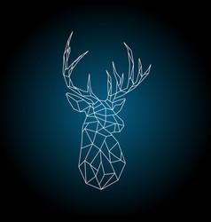 Polygonal head deer on dark blue background vector