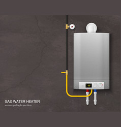 Realistic gas water heater boiler composition vector