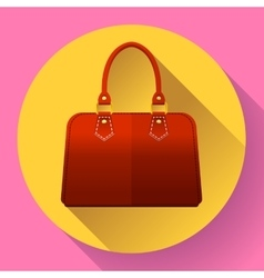 Red fashion women hand bag icon Flat design style vector