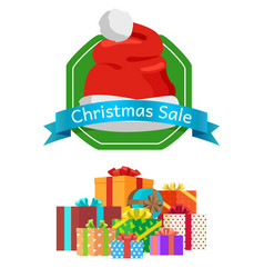 Sale on christmas marketing banner template label vector