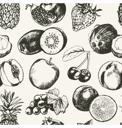 Seamless Pattern Fruits - modern hand drawn vector