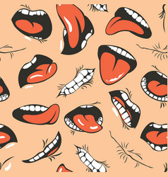 seamless pattern with cartoon human mouths vector image