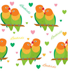 seamless pattern with lovebirds vector image