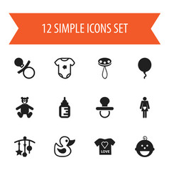 Set of 12 editable kid icons includes symbols vector