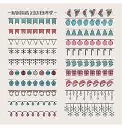 Set of 2016 Christmas season hand drawn vector image