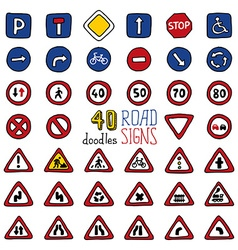 Set of doodles road signs vector