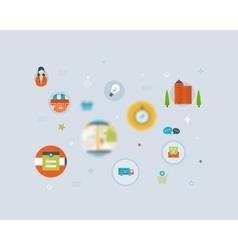 Set of Flat Style Icons Online marketing custom vector image