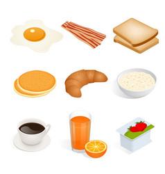 set of isometric food scrambled eggs yolk vector image