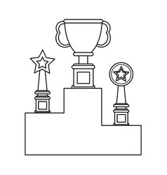 set of trophy cups black and white vector image