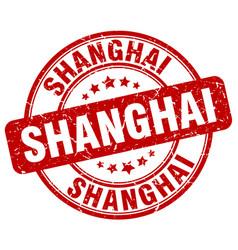 Shanghai red grunge round vintage rubber stamp vector