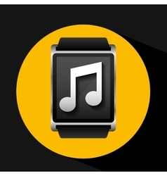 Smart watch concept music social media vector