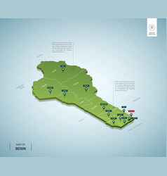 stylized map benin isometric 3d green map with vector image