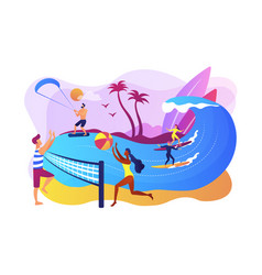 summer beach activities concept vector image