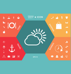 sun cloud line icon vector image