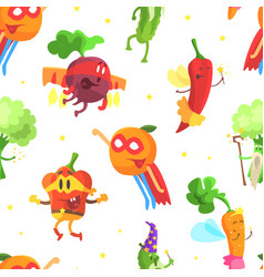 superhero vegetables seamless pattern funny vector image