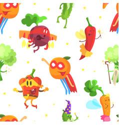 superhero vegetables seamless pattern funny vector image