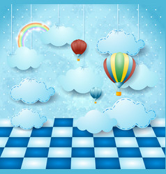 Surreal landscape with hanging clouds balloons vector