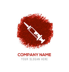 syringe icon - red watercolor circle splash vector image