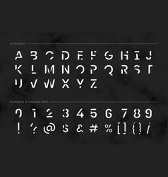 Trendy futuristic typography set vector
