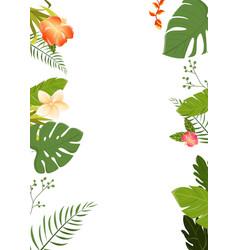 Tropical flowers background summer design vector