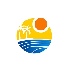 Tropical palm tree beach logo vector