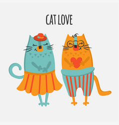 two cats hand drawn flat design cartoon vector image