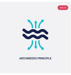 Two color archimedes principle icon from vector
