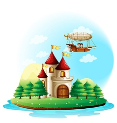 Two kids riding in an aircraft above the castle vector image