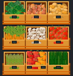 Vegetables at market in wooden boxes with prices vector
