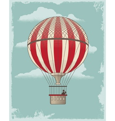 Vintage retro hot air balloon vector