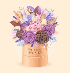 vintage wedding card with dry flowers vector image