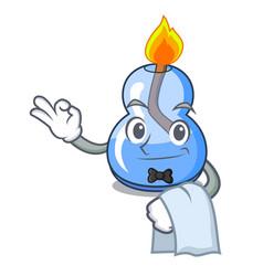 Waiter alcohol burner mascot cartoon vector