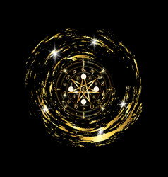 wiccan symbol protection gold mandala wicca vector image