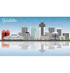 Wichita Skyline with Gray Buildings Blue Sky vector