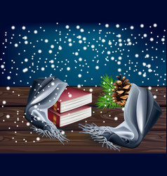 Winter background with reading books vector