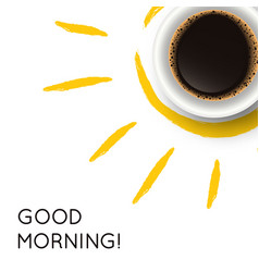 with realistic cup coffee and hand drawn sun vector image