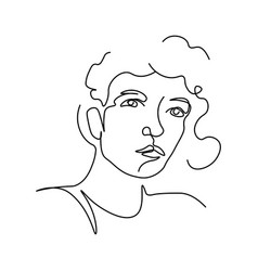 woman portrait in minimalist style line art vector image