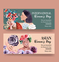Women day banner design with flower vector