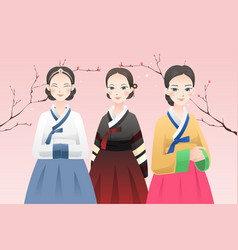women wearing traditional korean outfit vector image
