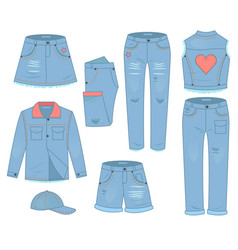 womens clothing set blue jeans fashion design vector image