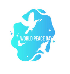 world peace day with white dove and olive branch vector image
