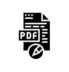 Writing and editing pdf file glyph icon vector