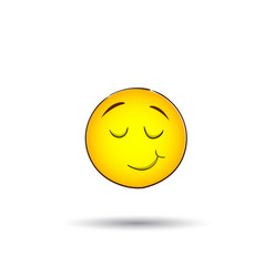 Yellow smiling face positive people emotion icon vector