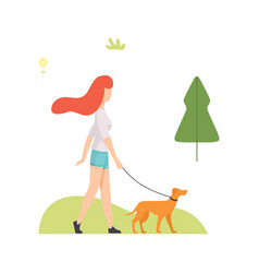 Young woman walking with her dog in park girl vector