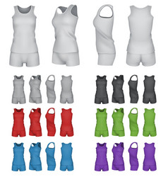 blank sport top and shorts template set vector image