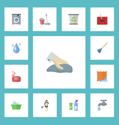 flat icons mopping faucet foam and other vector image vector image